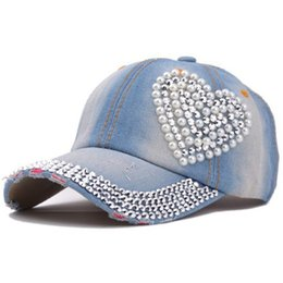 Wholesale Baseball Cap Shape - 2017 Hat Rhinestone Print Denim hat heart shape rhinestone Summer Women Caps hip hop baseball cap