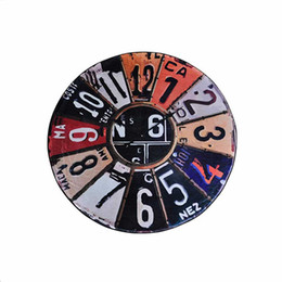 Wholesale American License Plate - Retro License plate Wall Clock Pattern Round Rugs Anti-slip Wear Mat for Kitchen,Living Room,Bedroom,Kids Room,Creative Doormat
