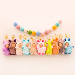 Wholesale ancient heart - Sleeping Baby Keyring Plush Doll Accessories Key Buckle Cute Surprise Doll Children lovely Cartoon Keychain Toys 4 7pc W