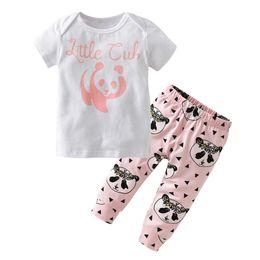 Ropa de panda de chicas lindas online-Verano Primavera Otoño Ropa para niña recién nacida de dibujos animados Panda Camisetas + Pantalones Ropa linda para niñas bebés Conjuntos para bebés 2 piezas