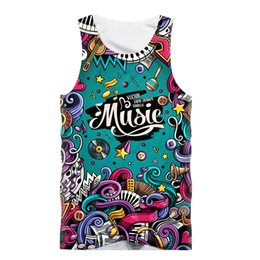 Wholesale music letters - Fashion Sexy Tank Tops Men Sleeveless Vest T -Shirt Funny Creative Music Poster 3d Print Fitness T Shirt Bodybuilding Tanktop