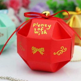 Wholesale wedding favor bell box - 10 pcs set Cute Plenty Of Wish Wedding Decoration Paper Ball Candy Boxes DIY Birthday Party Favor Gift Box With Bell Ribbon