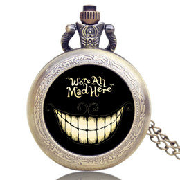 Wholesale Pocket Watch Alice - Vintage Quartz Pocket Watch Alice in Wonderland We Are All Mad Here Necklace Chain Best Gift To Women Men