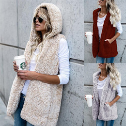 Wholesale Hoodie Vest Women - Women Fashion Sleeveless Hoodie Faux Fur Sherpa Vest Stylish Ladies Casual Warm Waistcoat