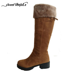 snow boots long high Promo Codes - 2017 Russian Winter Snow Boots Thick with Knight boots Brand Long boots High Quality Suede Fashion Women's shoes Plus size 34-44