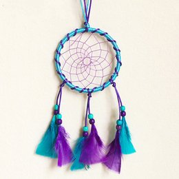 Wholesale crochet round cloths - Handmade Fabric Dream Catcher Circular With Feathers Hanging Decoration Craft Gift Dreamcatcher Crocheted Blue Purple Wind Chimes 7 2xr Y