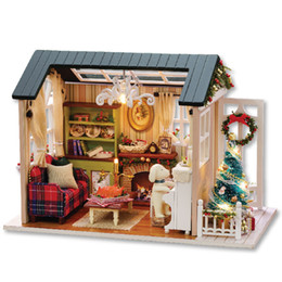 Wholesale diy house model - DIY Funny Cottage Box Manual Cute Room Wooden Assembling Holiday Time Creative Doll House Model Gift For Children 33rh W