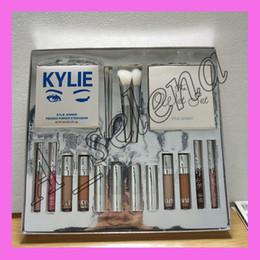 Wholesale Concealer Lipstick - Kylie Silver Series Makeup Set The Wet Set Purple Palette Skin Concealer Lipstick Lip Gloss Make up Brushes 18 in 1 dhl free