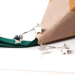 Wholesale Earring Hangers - designer jewelry fashion 925 sterling silver stud earrings Rear hanger Simple Five-pointed star female Sweet Small star china wholesale