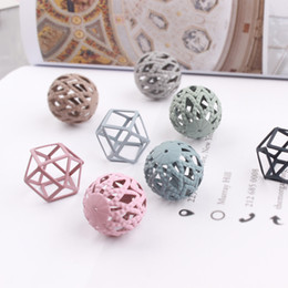 Wholesale Painted Beads Round - whole saleNew Design Spray Paint Hollow round geometric perforated beads Metal Charms Diy Jewerly Necklace Earring Pendants Accessory