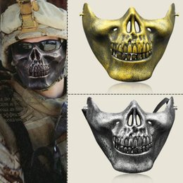 skull half face paintball mask Coupons - CS Mask Carnival Gift Scary Skull Skeleton Paintball Lower Half Face facemask warriors Protective Mask For Halloween Party Masks