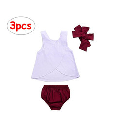 Wholesale cool american brands - 3pcs Set Baby Girl Summer Outfit White Back Cross Vest Tops+Red Bloomer Shorts+Headband Cool Clothing Sets