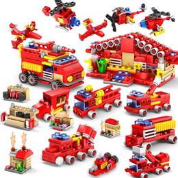 Wholesale Diy Nano - 16pcs lot Nano Blocks Cute Building Bricks 3D DIY Fire Engine Anime Model Educational Toys for Kids Gifts CF-001