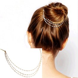 Wholesale wedding comb hair chains - 2018 New Imixlot Punk Hair Cuff Pin Clip 2 Combs Tassels Simulated Chains Head Band Fashion Party Wedding Accessories Jewelry