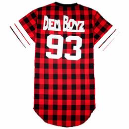 Wholesale West Side T Shirt - Fashion Dem Boyz 93 T Shirt Men Red Plaid Clothing Extended Side Zipper T Shirt Streetwear Kanye West Hip Hop T Shirts M-2XL