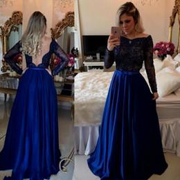 vestiti da partito lungo manica uk Sconti Foto reali Royal Blue Prom Dresses Maniche lunghe perline Abiti da sera a prezzi accessibili Uk Sexy Deep V Back Bow Sash Abiti da festa per le vacanze estive