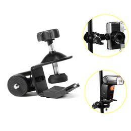 abrazaderas de la cámara montajes de clip Rebajas Cámara Teléfono Flash Video Studio C / U Abrazadera clip Soporte con Cabeza de bola
