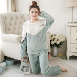 f6db23d8ef Conjunto de pijamas para mujer Pijama Hembra de Invierno de Franela Gruesa  Lindo Pastel Estampado de Pijama Caliente Conjunto de Manga Larga Pantalones  ...