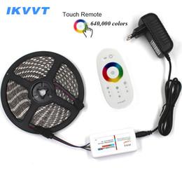 15 светодиодных индикаторов онлайн-IKVVT DC12V 5050 LED Strip водонепроницаемый RGB Led Light 5 м 10 м 15 м гибкая лента Лента + сенсорный пульт дистанционного управления +12 В адаптер питания