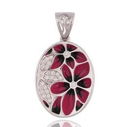 enamel pendants silver 925 UK - Enamel Ellipse Epoxy Red Flowers CZ 925 Silver Pendant