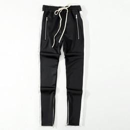 2019 calça de baixo para homem 2018 Nova bottoms lado calças zíper hip hop Moda roupas urbanas FOG Juntando calças juntos basculador preto vermelho azul