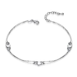 love hearts stamp Promo Codes - Elegant Simple Love Heart 925 stamped silver plated Bracelet for Women Girls Finger Party Jewelry Accessories Wholesale Price