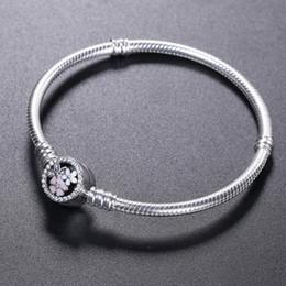 fascino pandora fascino braccialetto Sconti Braccialetto in argento sterling 925 BRACCIALE fiore fiore smalto Chiusura per bracciale di gioielli Pandora Bracciale originale bracciali da donna
