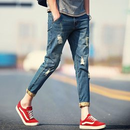 Wholesale Men Pants Laces - Summer Jeans Hole Stretch Self taught Nine Points Of The Feet Lace Jeans Male Tide Large Size Pants