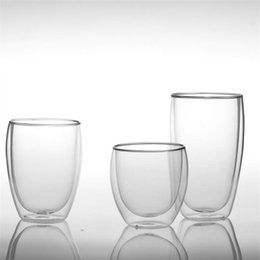 Wholesale Double Wall Heat Resistant Glasses - Wholesale Europe Style Double Wall Glass Coffee Cups Heat Resistant 80ML 250ML 350ML 450ML 650ML Mug Tea Cup Glassware With High Quality
