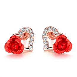 Wholesale K 925 - Jewelry 925 sterling silver Fashion K Gold Sweet Love Heart Shaped Rose Stud Earrings E046-10 Rose Gold