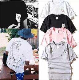 Wholesale pink base - Summer fashion T-Shirts Harajuku mens and womens round collar couples pocket middle finger cat small base wacky short sleeve T-shirt S-2XL