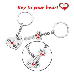 """100 Paar HOT Metall Liebhaber Herz Schlüsselanhänger für Autoschlüssel Schlüsselanhänger Charme """"Schlüssel zu meinem Herzen"""" Ich liebe dich Silber Keychain Valentinstag Geschenk von Fabrikanten"""
