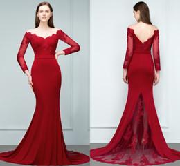 8e019aa5f1f9 2018 Vintage maniche lunghe abiti da ballo rossi firmati abiti da donna con  scollo a cerniera dietro lunghi abiti da cerimonia speciali CPS799