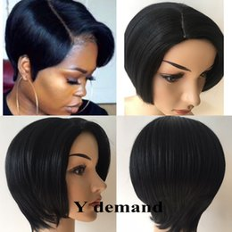 Wholesale glueless full lace wig synthetic - Top quality Short Pixie brazilian Simulation human hair wigs glueless full lace lace front cut Synthetic hair wigs for black women