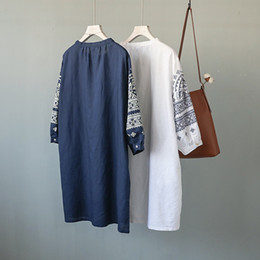 Wholesale Casual Dresses For Autumn - Autumn spring dress for women O neck cotton linen Long sleeve shirt dress White and Blue colors