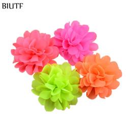 Wholesale Neon Flowers - 120pcs lot 2.75In girls Chiffon Hair Flowers 30 Colors Neon Artificial Floral Flat Back DIY Kids Headwear Accessories MH70