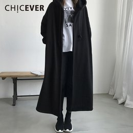 8226d94b01d CHICEVER Winter Vintage Hooded Trench Coat For Women Windbreaker Long  Sleeve Loose Big Size Oversize Women s Coats Female Casual S18101302