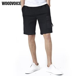 Wholesale Workout Clothes For Men - Woodvoice Brand Clothing 2017 Summer Cotton Shorts Workout Shorts Fashion Cargo For Male Solid Color Black Hot Sales 8898