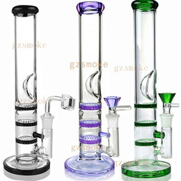 "honeycomb percolator water pipe Promo Codes - Heady Glass Bong Dab Rig 10"" Triple Honeycomb perc Bongs oil rigs water pipes percolator pipe quartz banger bowl wax Straight tube purple"