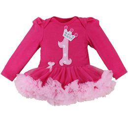 Mameluco de niña bebé rosa online-Hot Pink 1 Year Girl Birthday Dress Otoño mangas largas del cordón del bebé Vestidos del mameluco Vestido De Bebe Menina Princesa Infantil Ropa