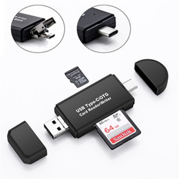 Wholesale sd card extension - Type-C & Micro USB & USB 3 In 1 OTG Card Reader High-Speed USB2.0 Universal OTG TF SD For Android Computer Extension Headers