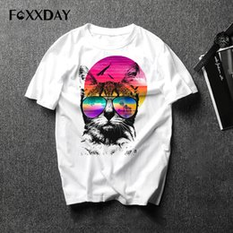 watches cat designs Promo Codes - A cat with dark glasses watching the sunset Tshirt Creative design of men's clothing