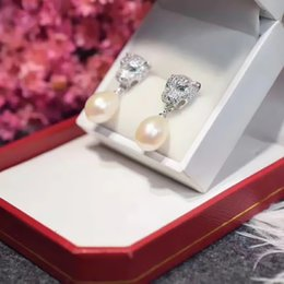 Wholesale 14k White Gold Emerald Earrings - PANTHERE DE C-earring France brand leopard head earring Emerald pearl stud HIGH VERSION MUSE necklace Women party wedding diamond chain 1:1