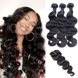 Wholesale Brown Weaves - 9A Human Hair Bundles With Lace Closure Best Quality Brazilian Virgin Hair 3 Bundles With Closure And Baby Hair Body Wave With Closure