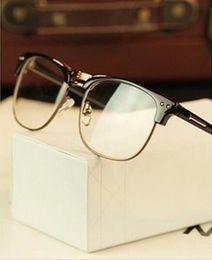 Protección de la computadora online-Marco de vidrios de medio marco de metal Mujer retro Hombres de vidrio de lectura Protección UV lente clara Ordenador Gafas de oro Marcos-Gafas