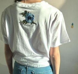Wholesale Top Couple Tshirt - tshirt Women Couples Clothes T Shirt 2017 Summer Short Sleeve Female Embroidery Rose t-shirt harajuk Tops tee shirt femme