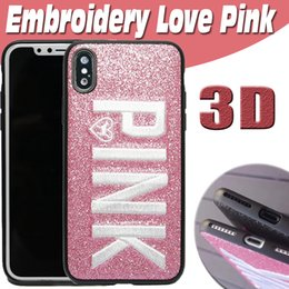 Wholesale Design Bling Case - For iPhone X Case 3D Embroidery Love Pink Design Glitter Bling Fashion Soft TPU Shockproof Protection Letter Cover For iPhone 8 7 Plus 6 6S