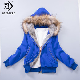 Wholesale fur hoodie clothing - US Size S-3XL Upgraded Quality Jacket Women Spring Winter Coat,Sweatshirt Large Raccoon Fur Hoodie Women Clothing #3002