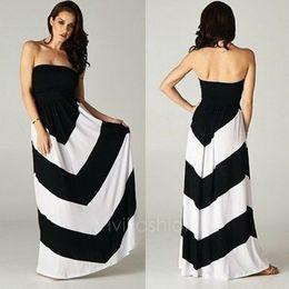 Wholesale Celebs Slim Dress - Women's Celeb Style Sleeveless Slim Strip Pattern Maxi Dress Beach Long Dress 3 Colors VVF