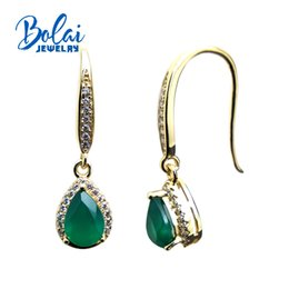 2019 природный желтый агат bolaijewelry,Water Drop earring natural green agate gemstone in 925 yellow color sterling silver women or girl wear best gift скидка природный желтый агат